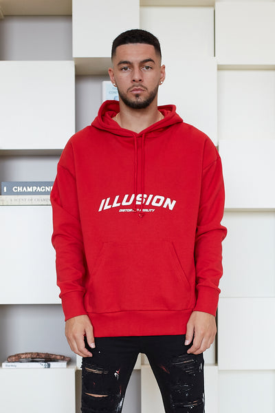 RED OVERSIZED DISTORTED REALITY HOODIE