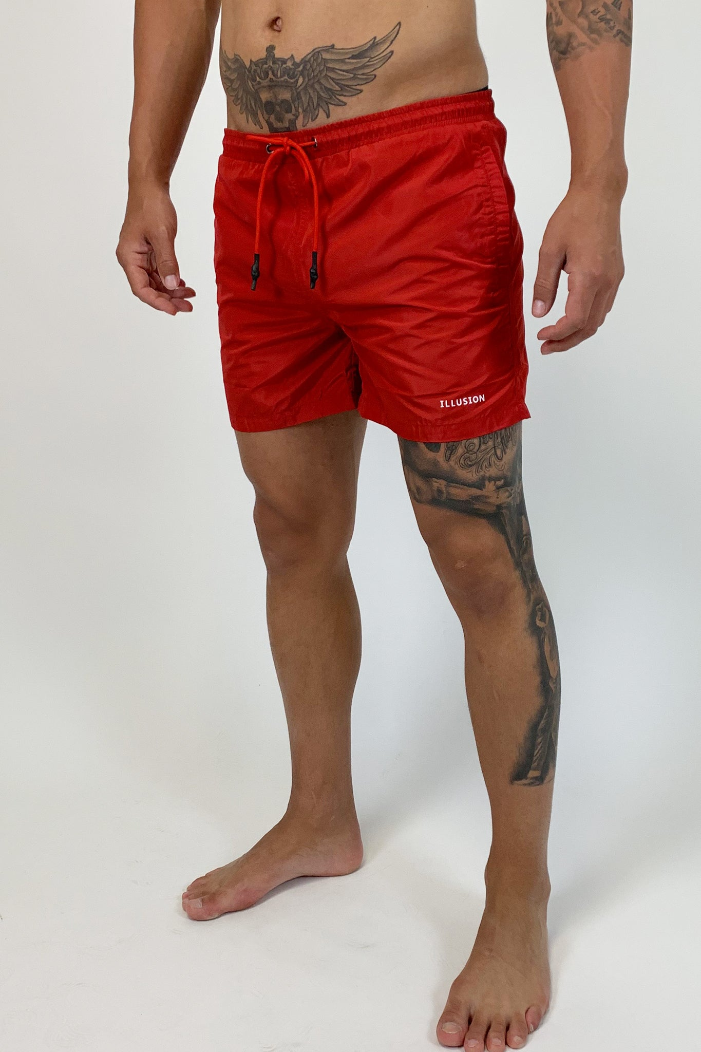 ILLUSION RED SWIMSHORTS - Illusion Attire