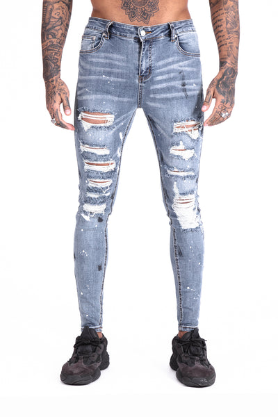 Shotgun Distressed Paint Ripped Jeans - Illusion Attire