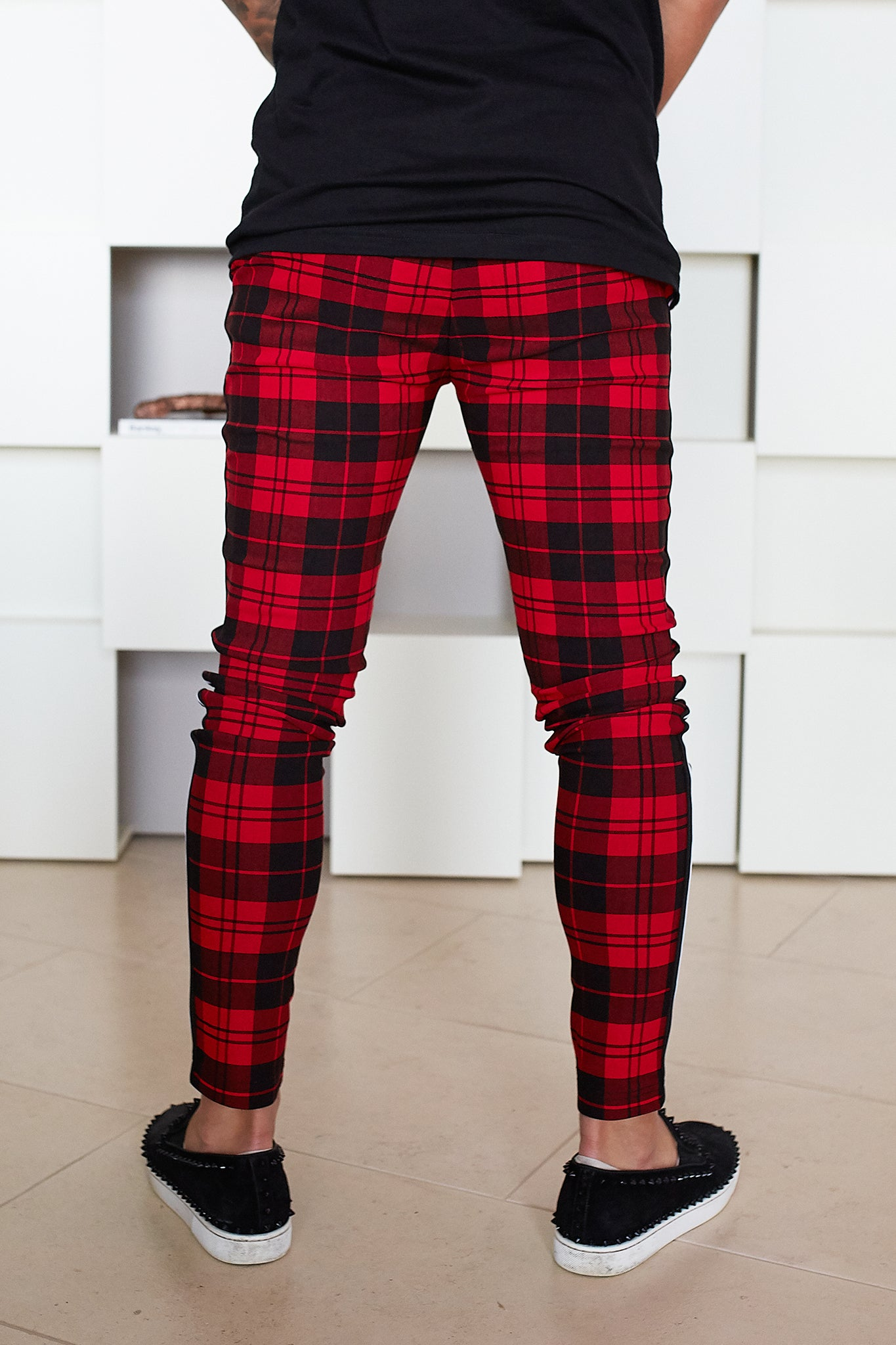 Red Plaid Trousers - Illusion Attire