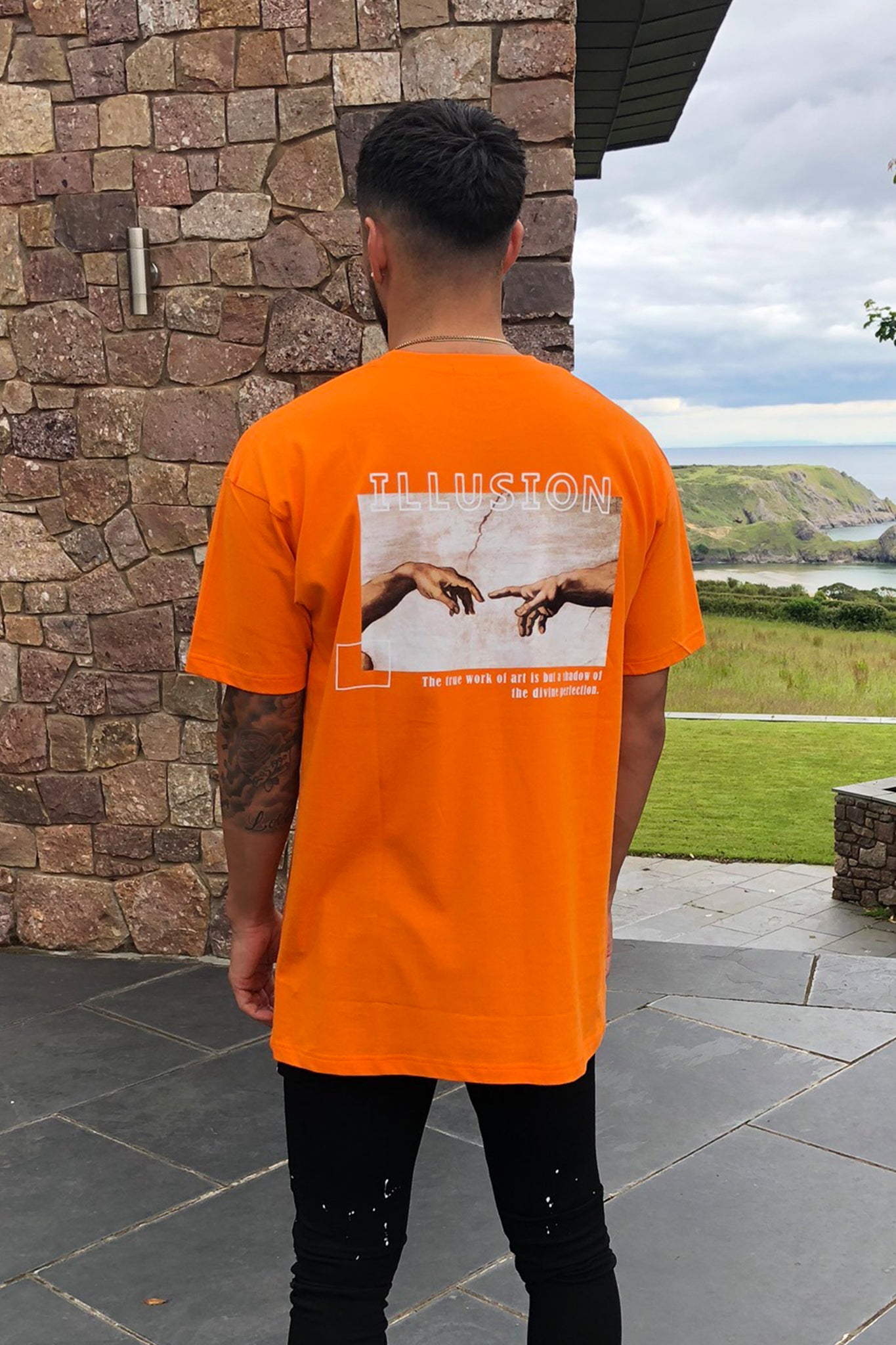 ORANGE HAND OF GOD TEE - Illusion Attire