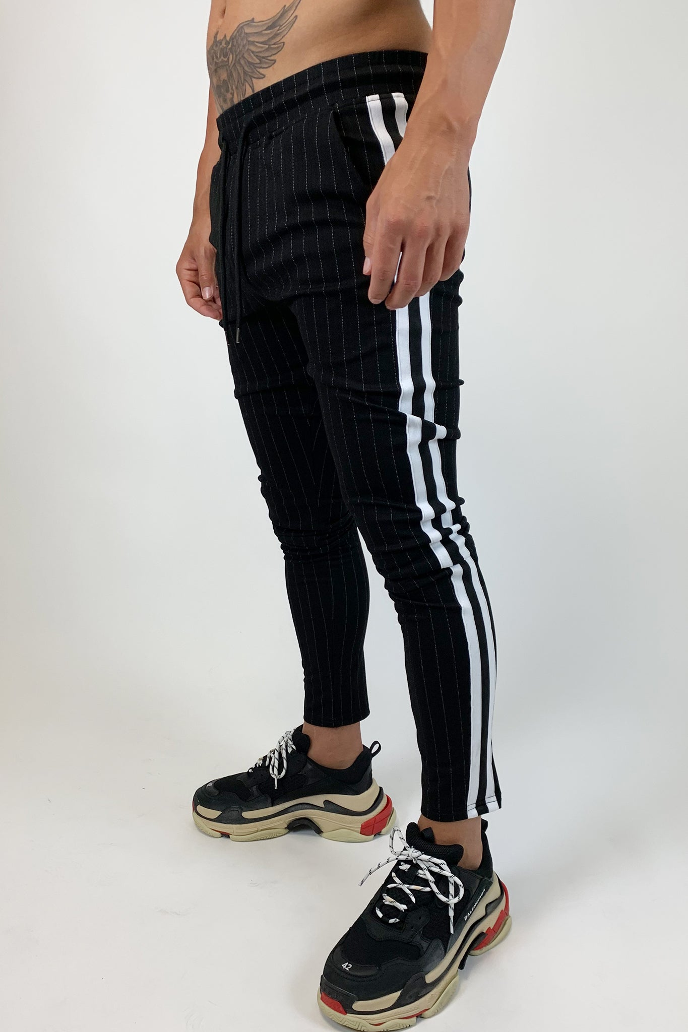 Black Pinstripe Trousers - Illusion Attire