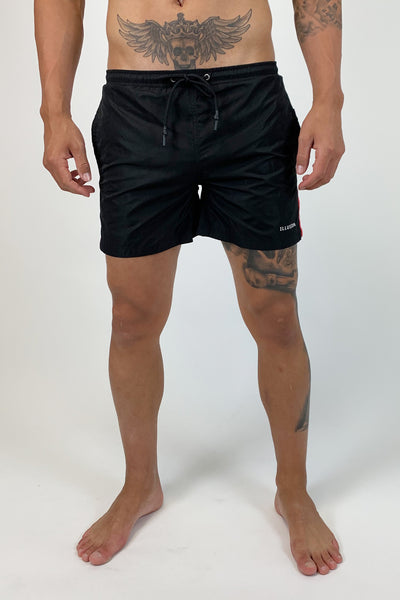ILLUSION BLACK & RED SWIMSHORTS - Illusion Attire