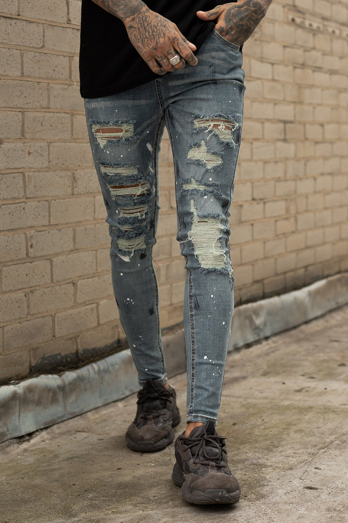 Shotgun Distressed Paint Ripped Jeans