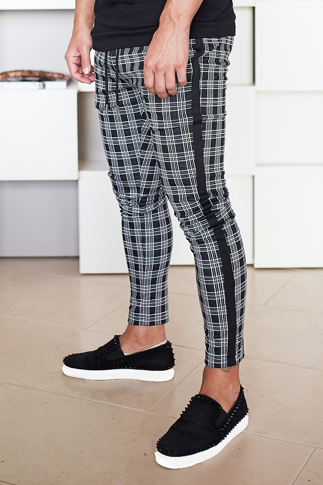 Glen Plaid Check Trousers