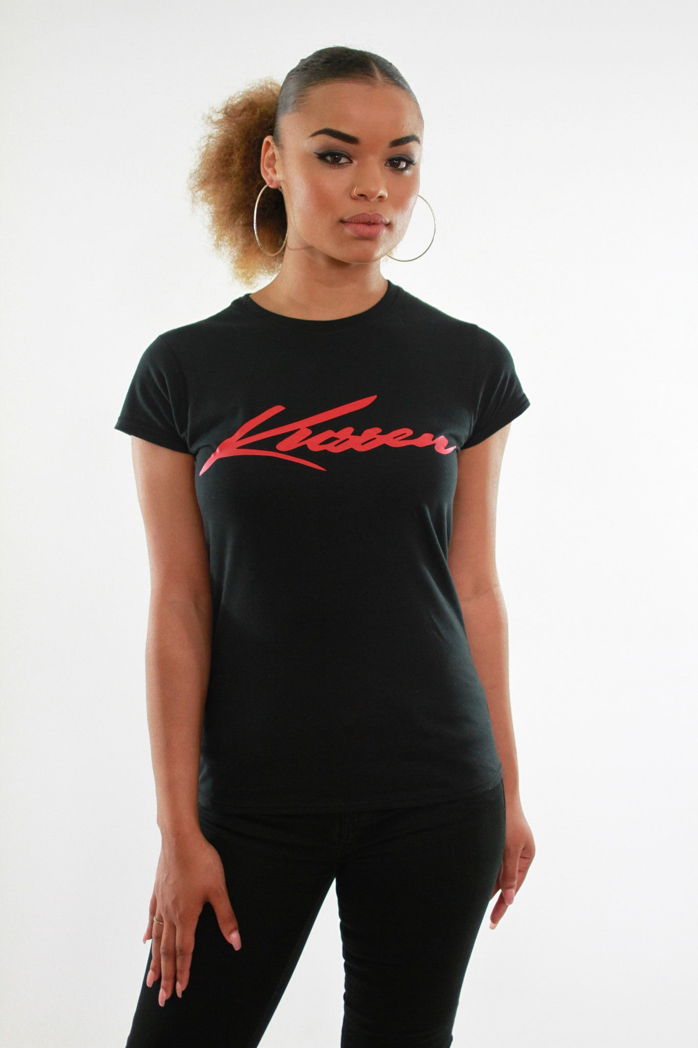 KUSSEN FITTED FEMALE SIGNATURE BLACK/RED T-SHIRT