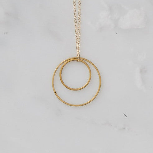 Handmade Delicate Brass and Gold Geometric Necklace by Botanique Workshop