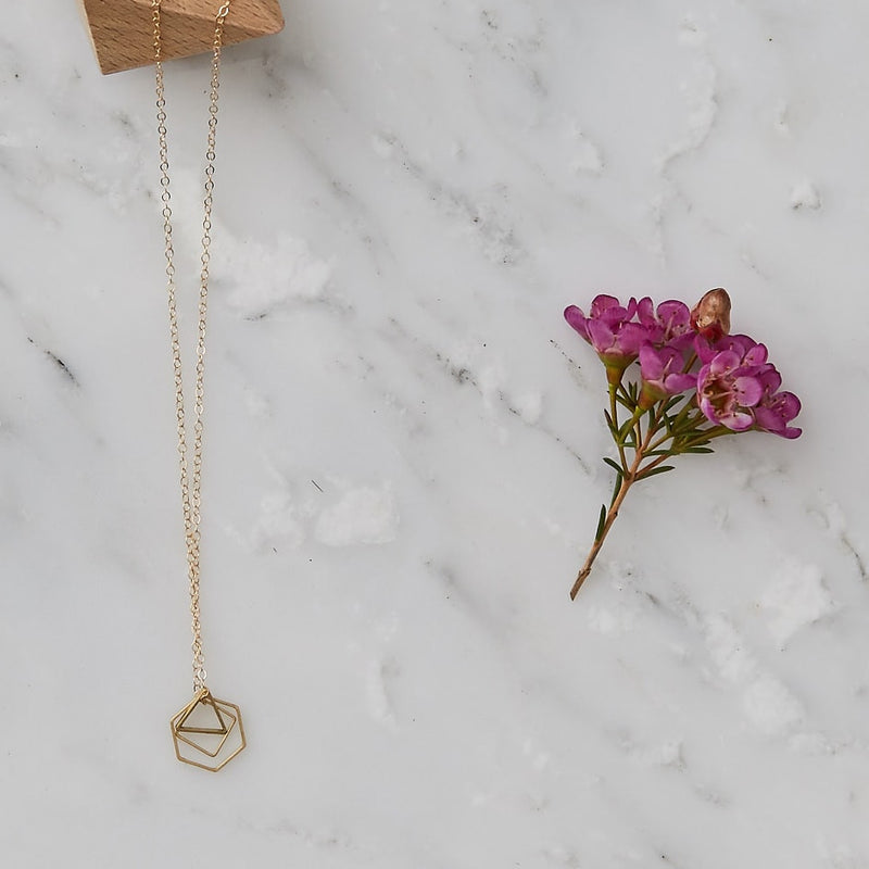 Simple Brass Hexagon, Triangle and Square Geometric Necklace