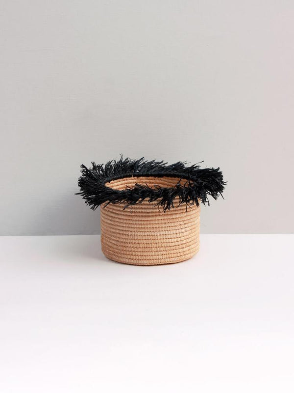 Raffia Tassel Storage Basket Small- Black