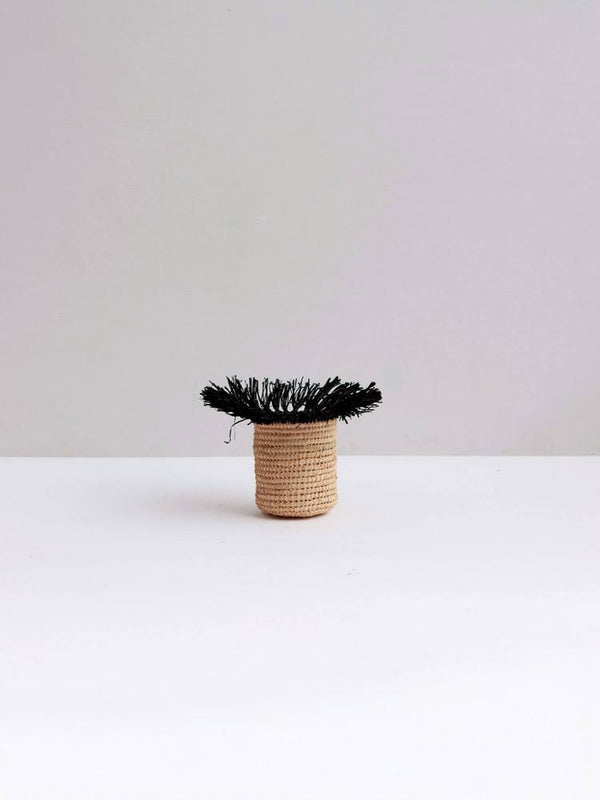 Raffia Tassel Storage Basket Medium - Black