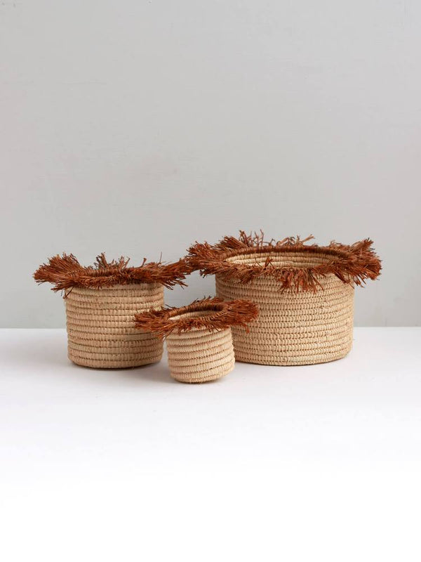 Raffia Tassel Storage Baskets Medium - Tobacco