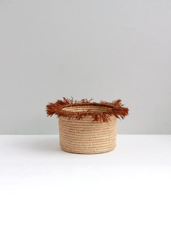 Raffia Tassel Storage Baskets Large - Tobacco