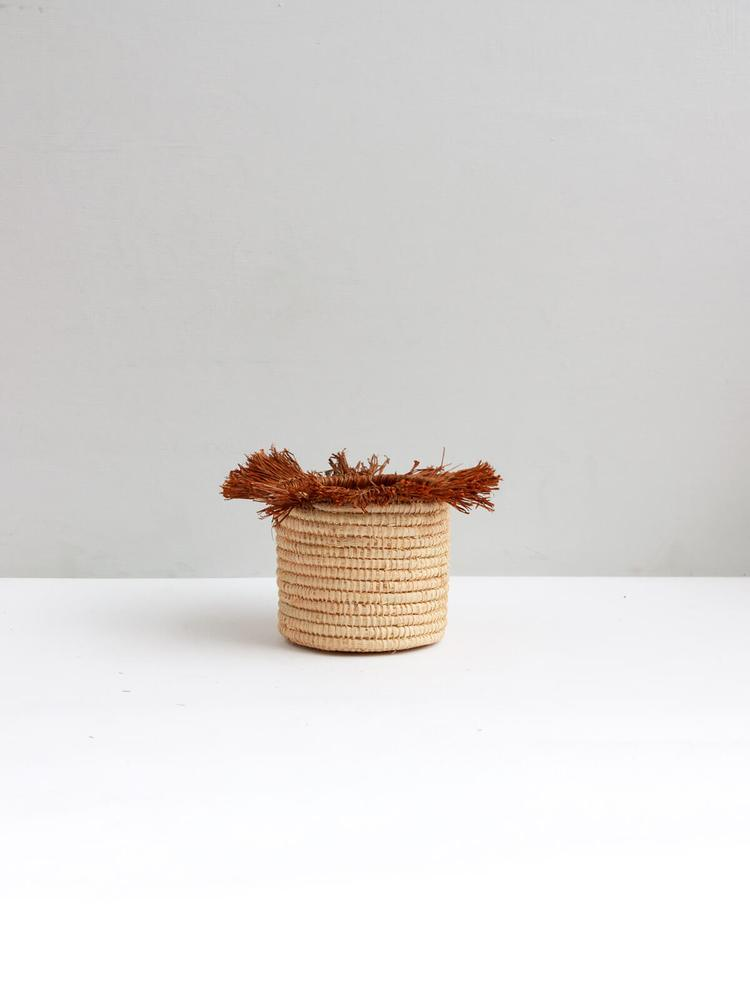 Raffia Tassel Storage Baskets Small - Tobacco