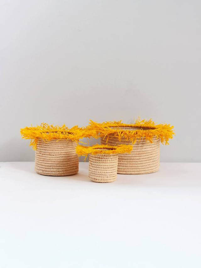 Raffia Tassel Storage Baskets Medium - Yellow