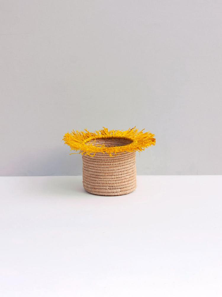 Raffia Tassel Storage Baskets Large - Yellow