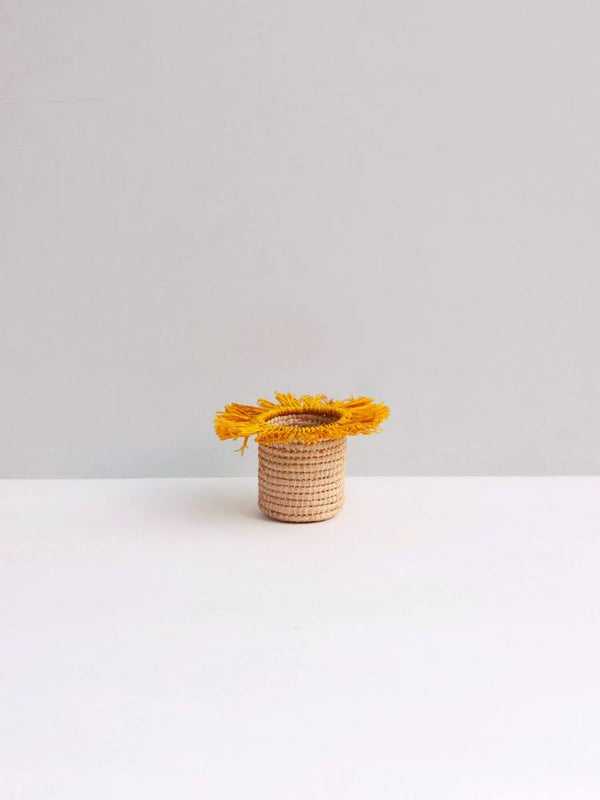 Raffia Tassel Storage Baskets Small - Yellow