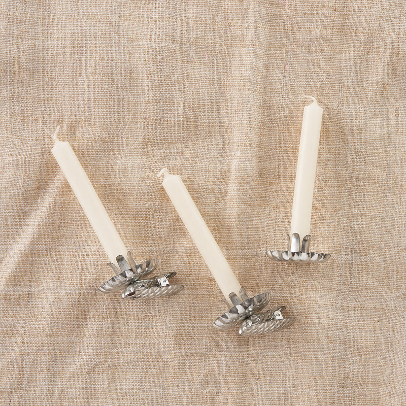 Set of vintage style tree clips with candles