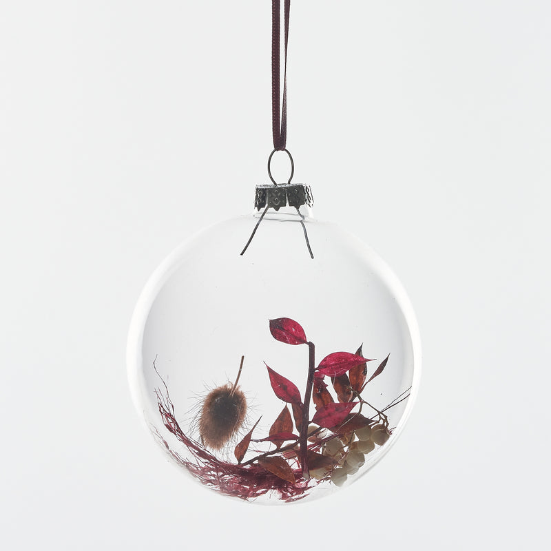 Set of 5 Dried flower Baubles: Burgundy
