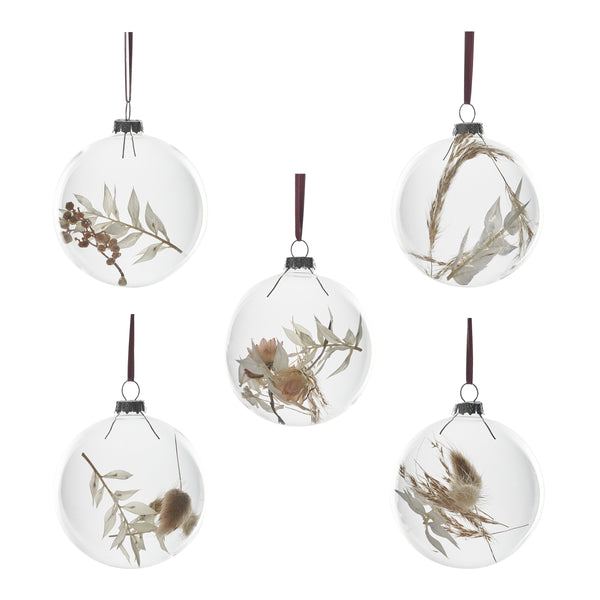 Set of 5 Dried flower Baubles: White