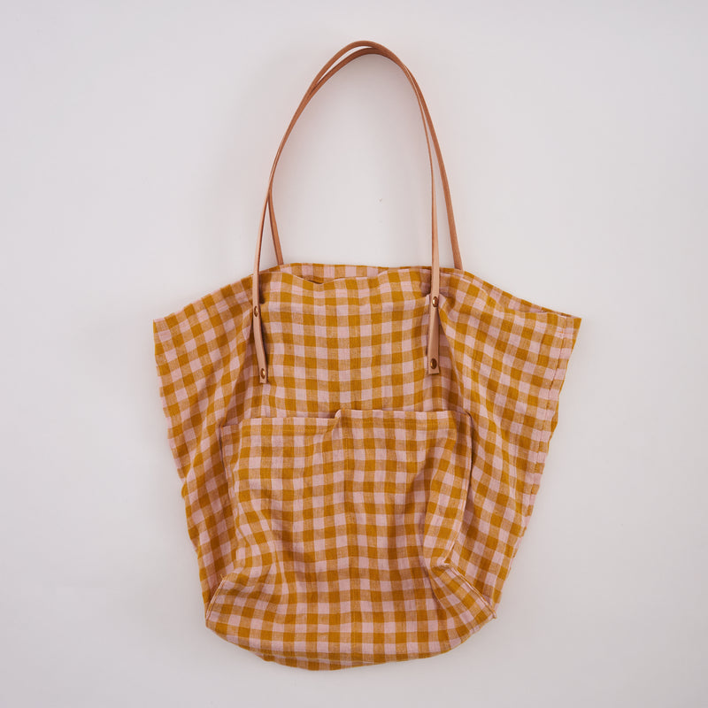 Wes Gingham Linen Tote Bag : handmade in London