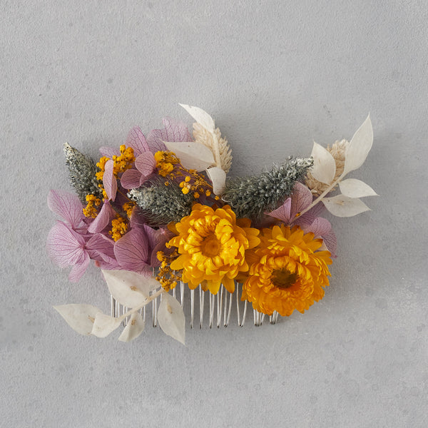 Dried flower hair comb : dusty lilac and sunshine yellow