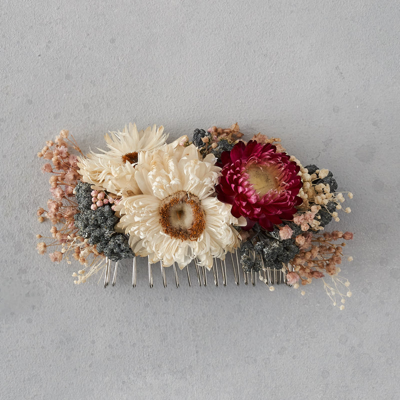 Dried flower hair comb : deep pinks