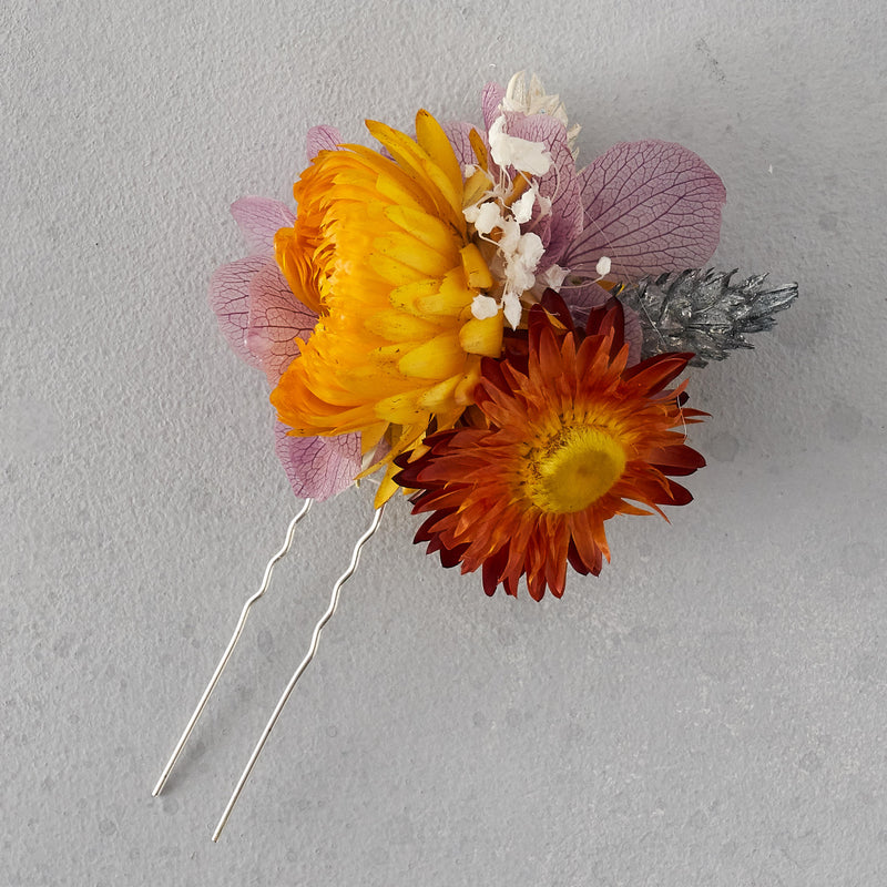 Dried flower hair pin : dusty lilac and sunshine yellow