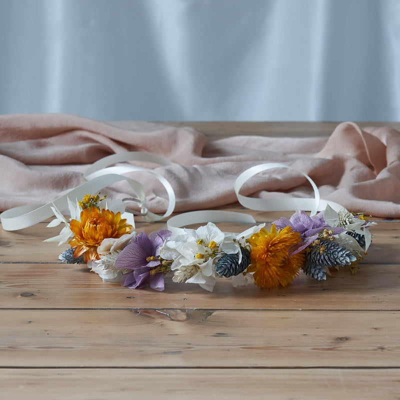 Dried flower crown : dusty lilac and sunshine yellow