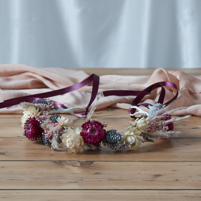 Dried flower crown : deep pink
