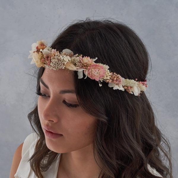Dried flower crown : blush pink