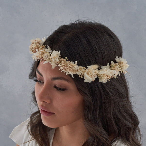 Dried flower crown : white