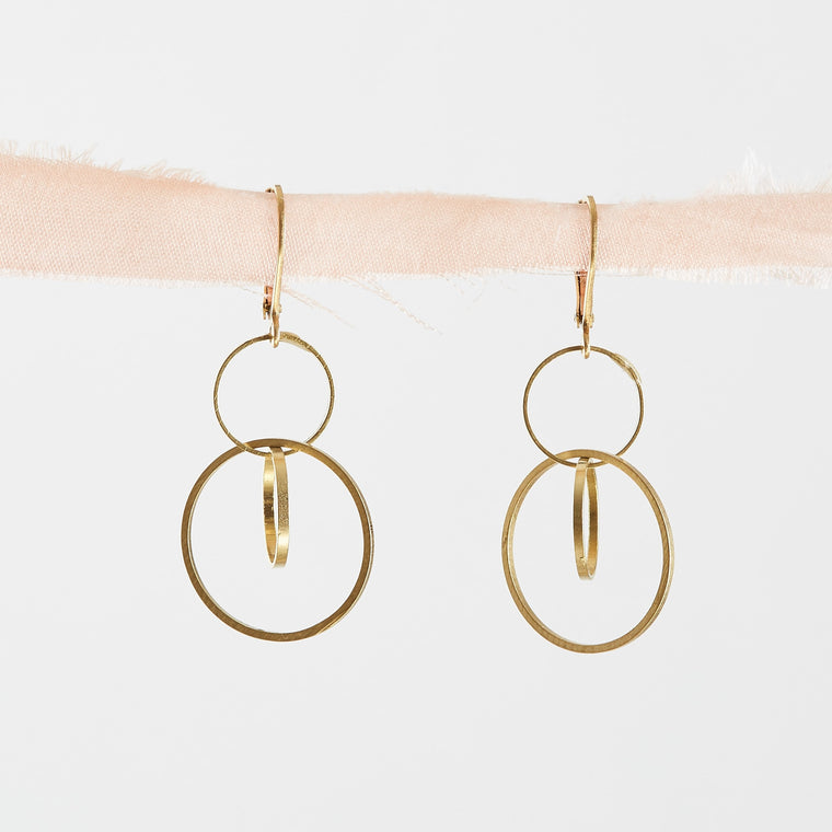 Brass Circles Geometric Dangle Earrings
