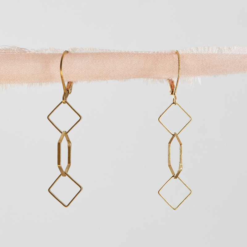Brass Geometric Dangle Earrings Handmade by Botanique Workshop