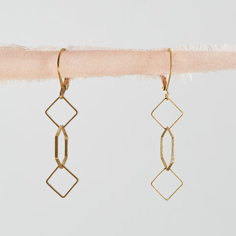 Brass Hexagon and Squares Geometric Dangle Earrings