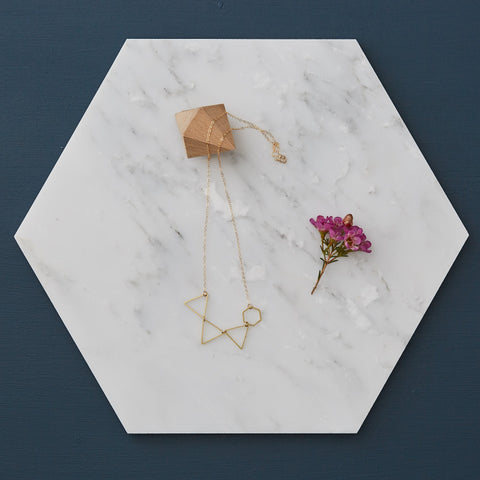 Triangles with Hexagon Brass Geometric Necklace