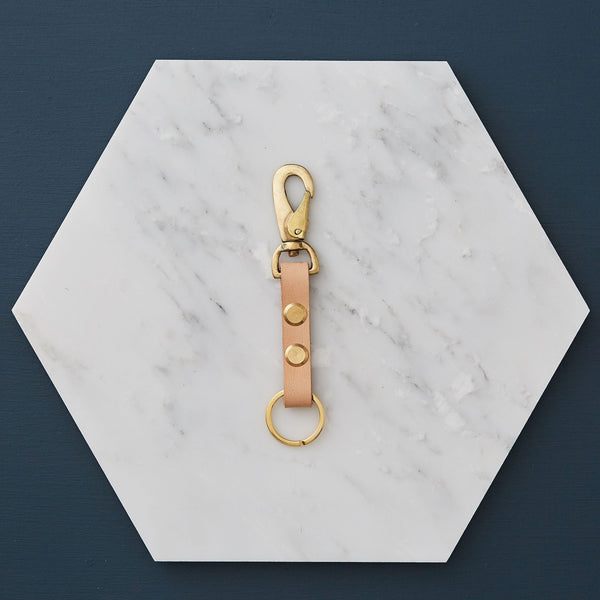 Handmade Leather and Brass Key Ring Fob by Botanique Workshop