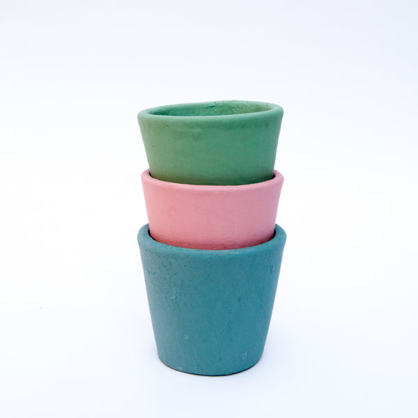 Set of Three Hand Painted Coloured Plant Pots