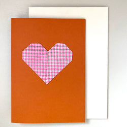 Origami Heart Greetings Card: Red and Orange