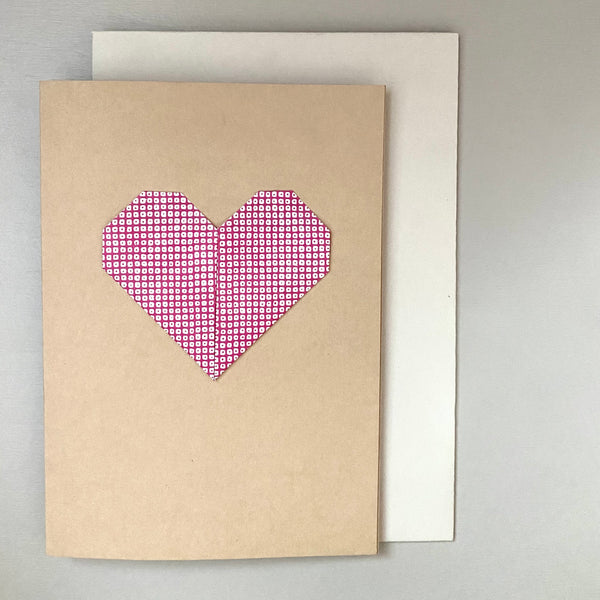 Origami Heart Greetings Card: Red Pattern and Beige
