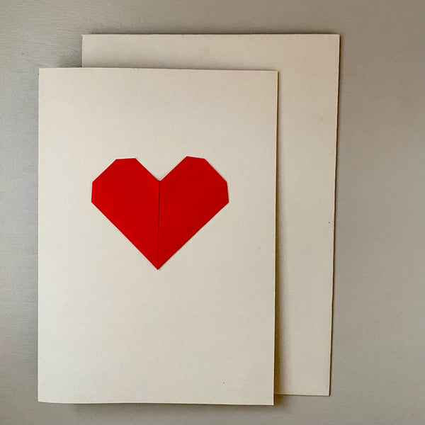 Origami Heart Greetings Card: Red and Nude