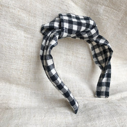Knotted hair band : Black and off White Gingham