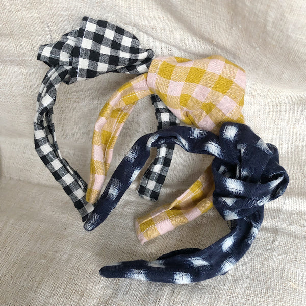 Knotted hair band : Wes Pink & Mustard Gingham