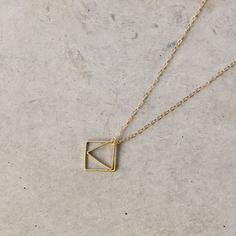 Geometric necklace triangle & square