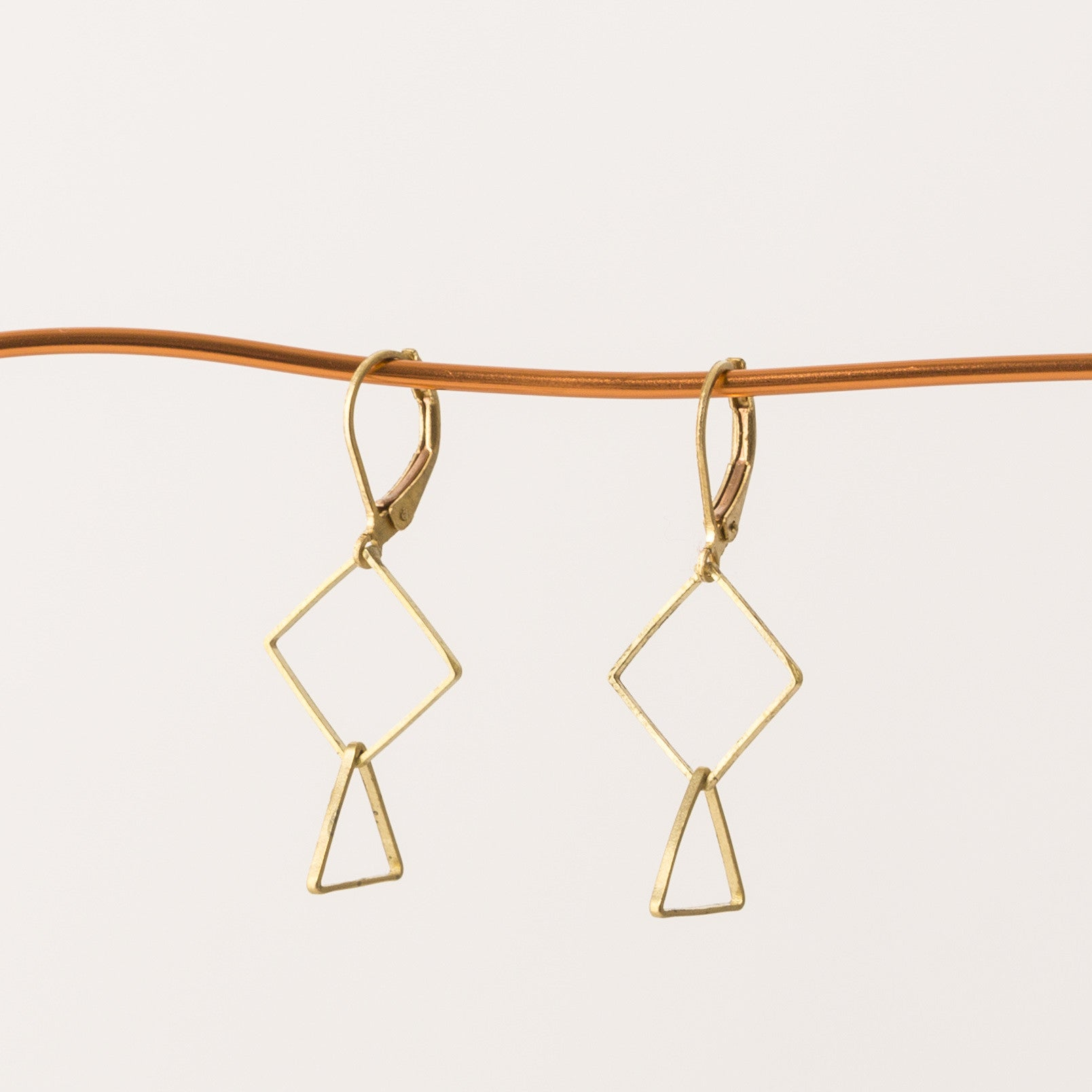 Geometric dangle earrings square and triangle