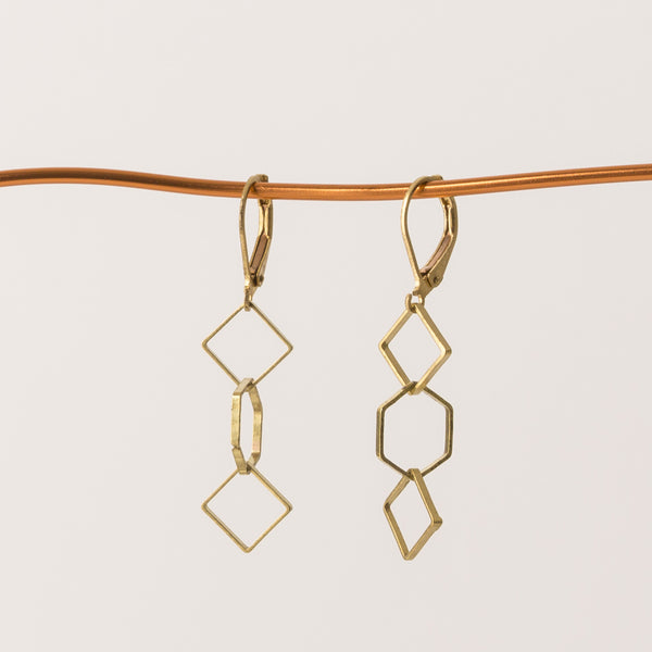Geometric earrings square & hexagon