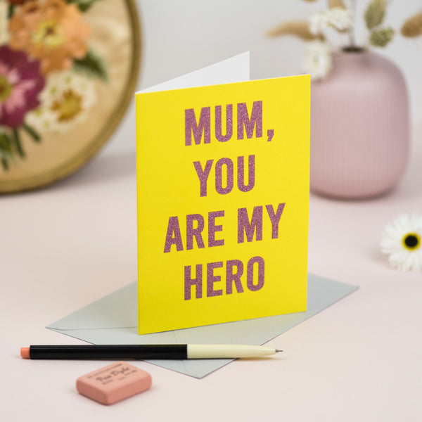 """Mum, you are my Hero"" Biodegradable Glitter Greetings Card"