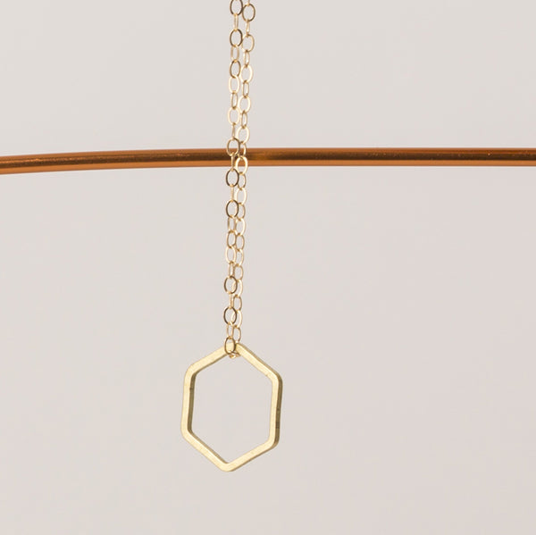 Geometric Necklace single hexagon