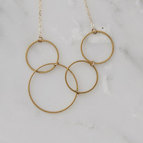 Brass Geometric Shapes Necklace Handmade by Botanique Workshop