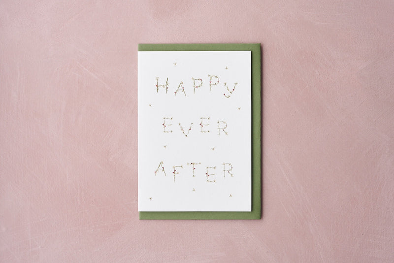 HAPPY EVER AFTER pressed flower message card