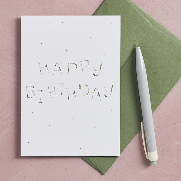 HAPPY BIRTHDAY pressed flower message card